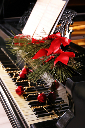 Christmas decoration on piano keys