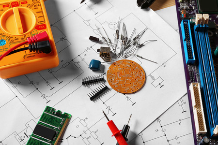 Electronic components on engineering drawings