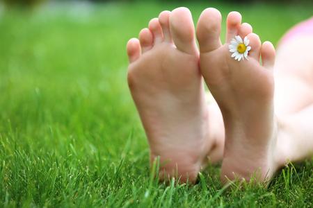 Vrouwenbenen met madeliefje op groen gras