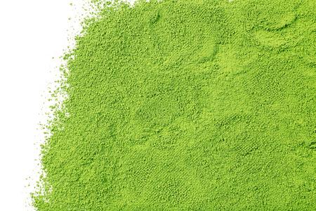 Powdered matcha green tea, isolated on white