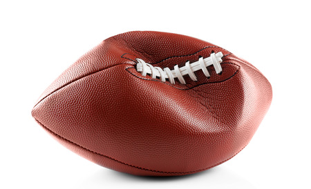 Deflated football ball on white background