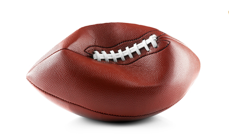 Deflated football ball on white background Stock Photo