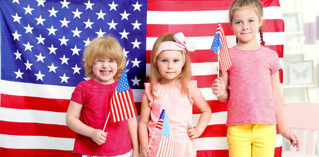 Children and American flag in kindergarten