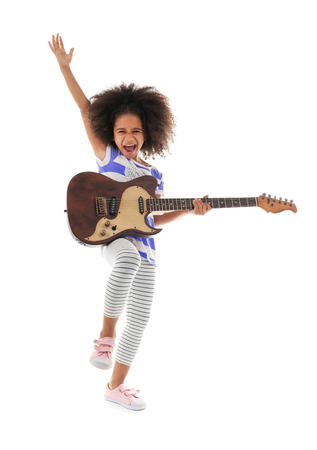 Afro-American little girl with curly hair playing guitar isolated on white 写真素材