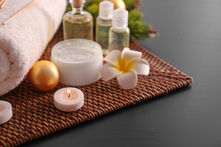 Spa treatment with Christmas decorations Stock Photo