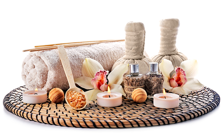 Beautiful spa composition on wicker mat