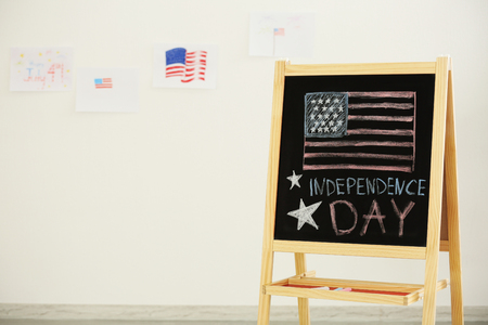 Child's chalk drawing of American flag on blackboard 写真素材