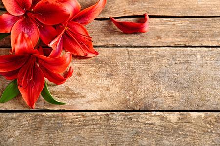 Beautiful lilies on wooden background Foto de archivo