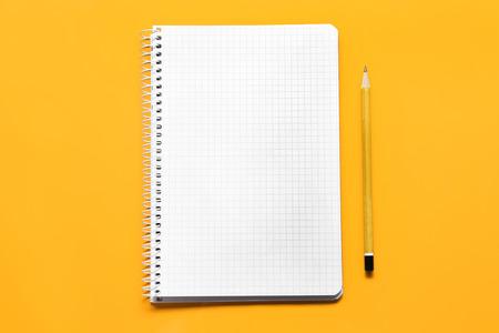 School notebook on color background 免版税图像