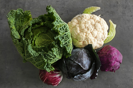 Different kinds of fresh cabbage, top view