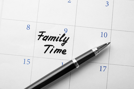 Calendar with words Family time, close up