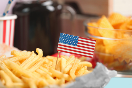 American traditional food with small flag, close up
