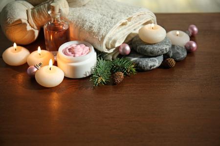Christmas spa composition on table