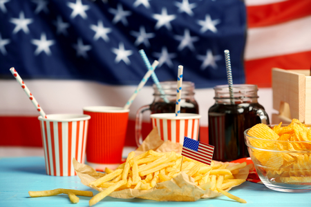 American traditional food on national flag background