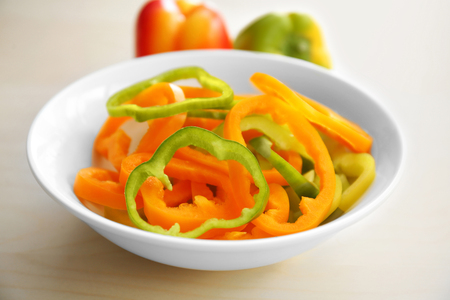 Pepper slices in bowl