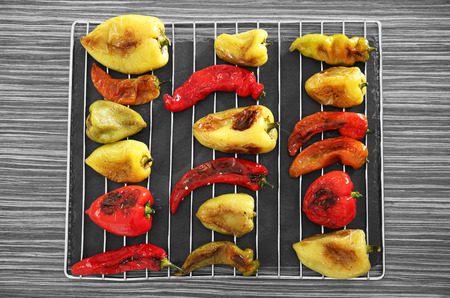 Roasted peppers on grill grid