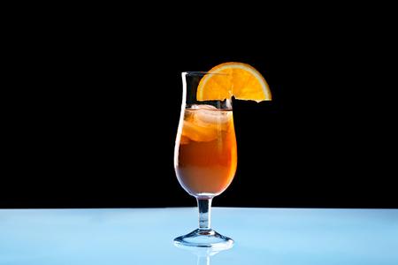 Tasty long drink on light table