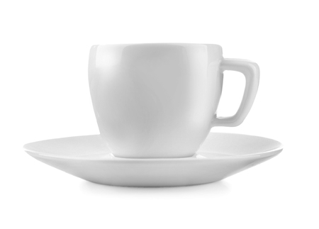 Cup of fresh coffee on white background