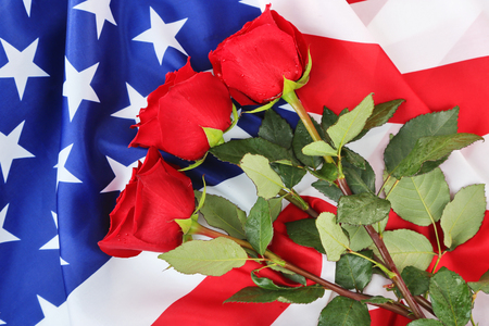 Roses and American flag, top view