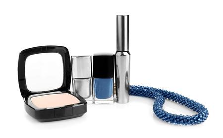 Decorative cosmetics and female accessory on white background Фото со стока