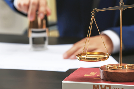 Scales in notary public office, concept