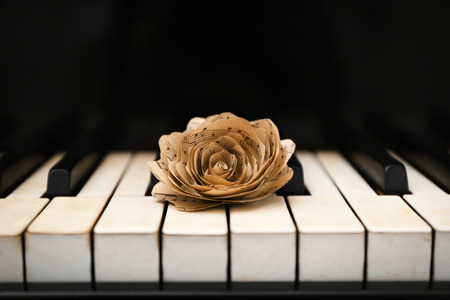 Rose made of music notes on piano keys Banco de Imagens