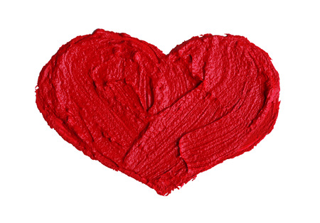 Painted red heart on white background