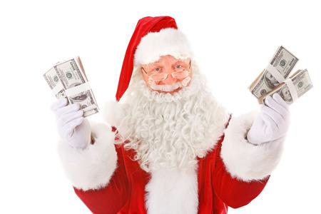 Santa Claus holding money on white background Standard-Bild