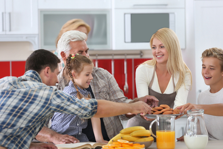 Happy large family on kitchen