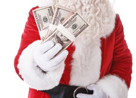 Santa Claus hand holding money on white background