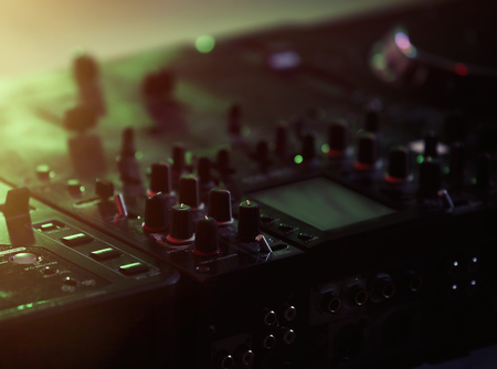 Close up view of professional DJ console Stock Photo