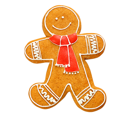 Delicious Christmas cookie on white background Stock Photo