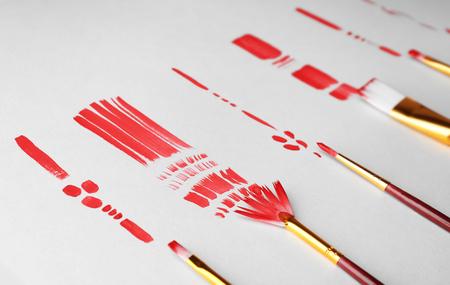 Make up brushes with smear on white background
