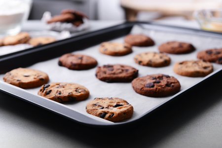 Freshly baked cookies on tray