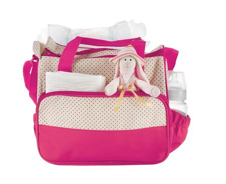 Muttertasche mit Spielzeug und Zubehör auf weißem Hintergrund Standard-Bild