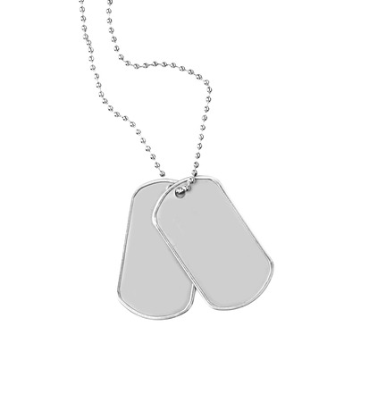 Military ID tags, isolated on white 写真素材