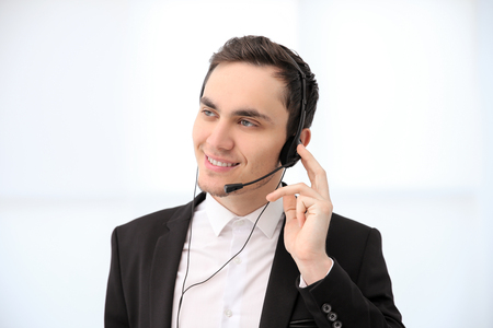 Call center operator in office