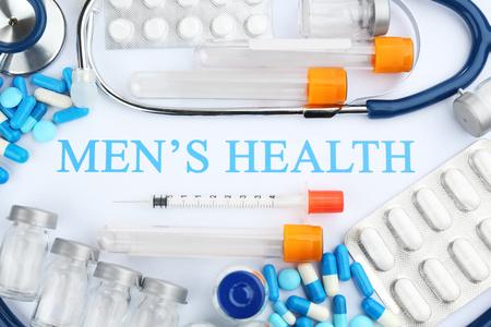 Set of medicine, closeup. Mens health concept