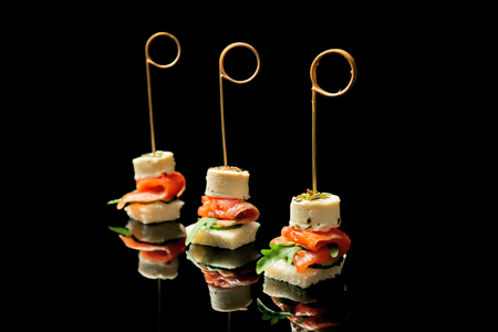 Gourmet canapes on black background 免版税图像