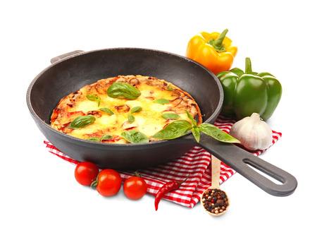Freshly baked pizza in a pan on white background Reklamní fotografie