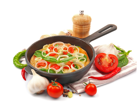 Freshly baked pizza in a pan on white background