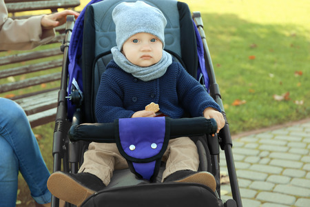 Cute baby sitting in stroller outdoors