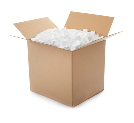 Cardboard box full of polystyrene isolated on white