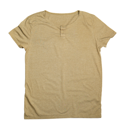 Blank color t-shirt on white background Фото со стока