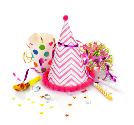 Party hat on white background Stock Photo