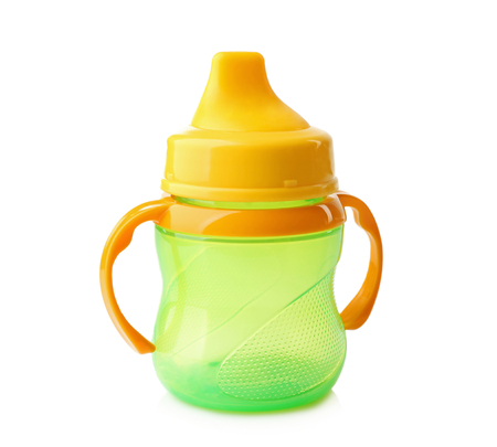 Baby bottle on white background