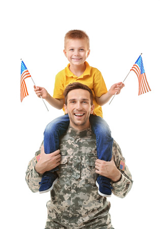 Military father with his son on white background Banque d'images