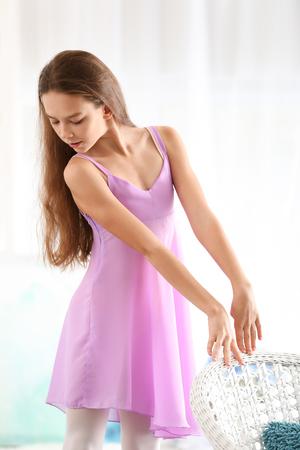 Little ballerina in room, closeup Imagens