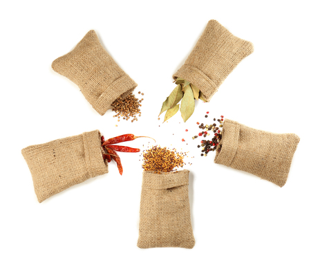 Spices in sacking bags on white background, top view