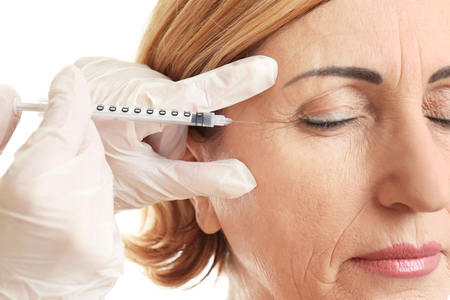 Hyaluronic acid injection for facial rejuvenation procedure Archivio Fotografico